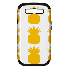 Fruit Pineapple Printable Orange Yellow Samsung Galaxy S Iii Hardshell Case (pc+silicone) by Alisyart