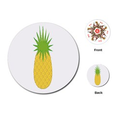 Fruit Pineapple Yellow Green Playing Cards (round)  by Alisyart