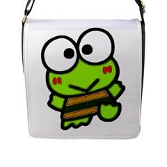Frog Green Big Eye Face Smile Flap Messenger Bag (l)  by Alisyart