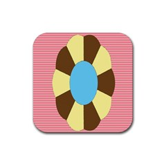 Garage Door Quilts Flower Line Rubber Coaster (square)  by Alisyart