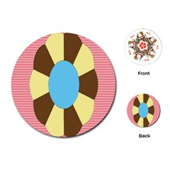 Garage Door Quilts Flower Line Playing Cards (round)  by Alisyart