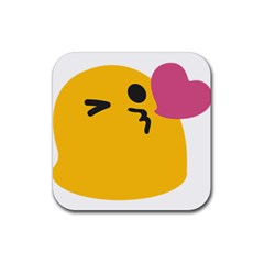 Happy Heart Love Face Emoji Rubber Square Coaster (4 Pack)  by Alisyart