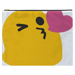 Happy Heart Love Face Emoji Cosmetic Bag (xxxl)  by Alisyart
