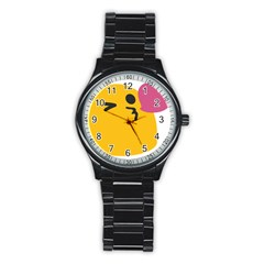 Happy Heart Love Face Emoji Stainless Steel Round Watch by Alisyart