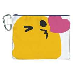 Happy Heart Love Face Emoji Canvas Cosmetic Bag (xxl) by Alisyart