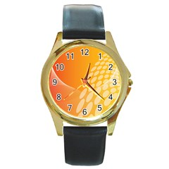 Abstract Orange Background Round Gold Metal Watch by Simbadda