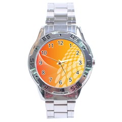 Abstract Orange Background Stainless Steel Analogue Watch by Simbadda