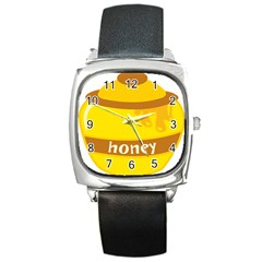 Honet Bee Sweet Yellow Square Metal Watch by Alisyart