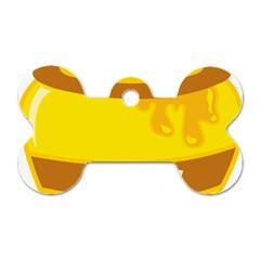 Honet Bee Sweet Yellow Dog Tag Bone (two Sides) by Alisyart