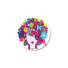 Floral Butterfly Hair Woman Golf Ball Marker (4 Pack) by Alisyart
