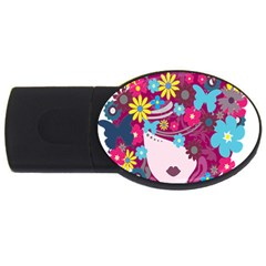 Floral Butterfly Hair Woman Usb Flash Drive Oval (2 Gb) by Alisyart
