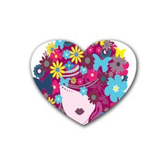Floral Butterfly Hair Woman Heart Coaster (4 Pack)  by Alisyart