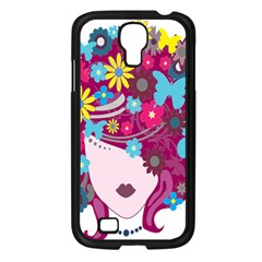 Floral Butterfly Hair Woman Samsung Galaxy S4 I9500/ I9505 Case (black) by Alisyart