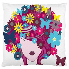Floral Butterfly Hair Woman Standard Flano Cushion Case (two Sides) by Alisyart