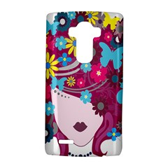 Floral Butterfly Hair Woman Lg G4 Hardshell Case by Alisyart