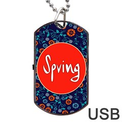 Floral Texture Pattern Card Floral Seamless Vector Dog Tag Usb Flash (two Sides) by Simbadda