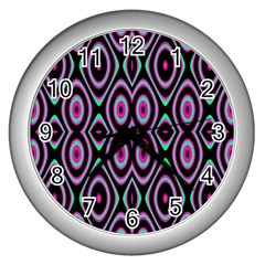 Colorful Seamless Pattern Vibrant Pattern Wall Clocks (silver)  by Simbadda