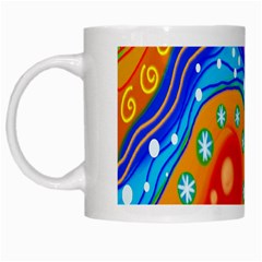 Hand Painted Digital Doodle Abstract Pattern White Mugs