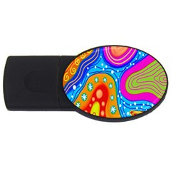 Hand Painted Digital Doodle Abstract Pattern Usb Flash Drive Oval (2 Gb) by Simbadda