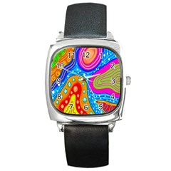 Hand Painted Digital Doodle Abstract Pattern Square Metal Watch by Simbadda