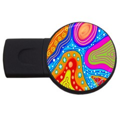 Hand Painted Digital Doodle Abstract Pattern Usb Flash Drive Round (4 Gb) by Simbadda
