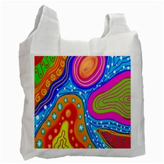 Hand Painted Digital Doodle Abstract Pattern Recycle Bag (one Side) by Simbadda