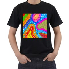 Hand Painted Digital Doodle Abstract Pattern Men s T Shirt (black) by Simbadda