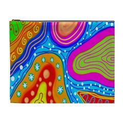 Hand Painted Digital Doodle Abstract Pattern Cosmetic Bag (xl) by Simbadda