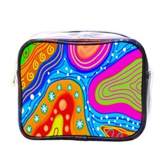 Hand Painted Digital Doodle Abstract Pattern Mini Toiletries Bags by Simbadda
