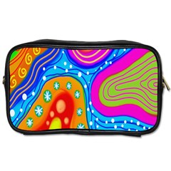Hand Painted Digital Doodle Abstract Pattern Toiletries Bags 2 Side by Simbadda