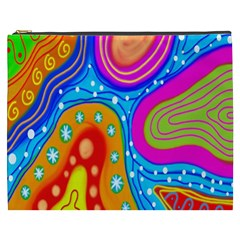 Hand Painted Digital Doodle Abstract Pattern Cosmetic Bag (xxxl)  by Simbadda