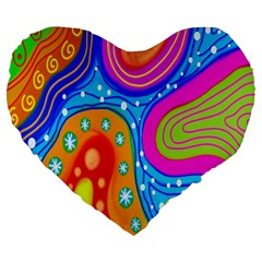 Hand Painted Digital Doodle Abstract Pattern Large 19  Premium Heart Shape Cushions by Simbadda