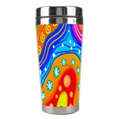 Hand Painted Digital Doodle Abstract Pattern Stainless Steel Travel Tumblers by Simbadda