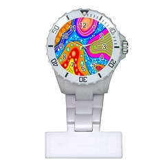 Hand Painted Digital Doodle Abstract Pattern Plastic Nurses Watch