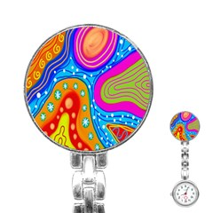 Hand Painted Digital Doodle Abstract Pattern Stainless Steel Nurses Watch