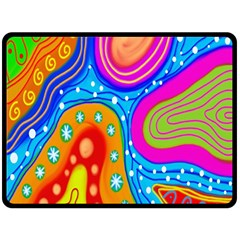 Hand Painted Digital Doodle Abstract Pattern Double Sided Fleece Blanket (large)  by Simbadda