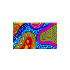 Hand Painted Digital Doodle Abstract Pattern Cosmetic Bag (xs) by Simbadda