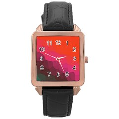 Abstract Elegant Background Pattern Rose Gold Leather Watch  by Simbadda