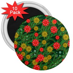 Completely Seamless Tile With Flower 3  Magnets (10 Pack)  by Simbadda