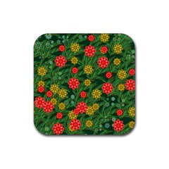 Completely Seamless Tile With Flower Rubber Coaster (square)  by Simbadda