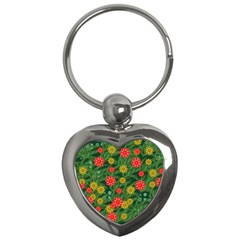 Completely Seamless Tile With Flower Key Chains (heart)  by Simbadda