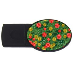Completely Seamless Tile With Flower Usb Flash Drive Oval (2 Gb) by Simbadda