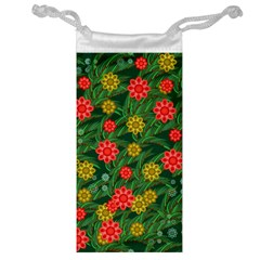 Completely Seamless Tile With Flower Jewelry Bag by Simbadda