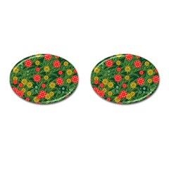 Completely Seamless Tile With Flower Cufflinks (oval) by Simbadda