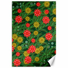 Completely Seamless Tile With Flower Canvas 24  X 36  by Simbadda