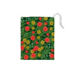 Completely Seamless Tile With Flower Drawstring Pouches (small)  by Simbadda