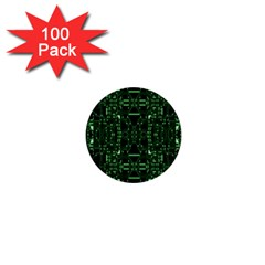 An Overly Large Geometric Representation Of A Circuit Board 1  Mini Buttons (100 Pack)  by Simbadda