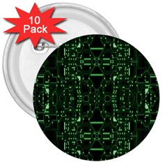 An Overly Large Geometric Representation Of A Circuit Board 3  Buttons (10 Pack)  by Simbadda