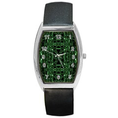 An Overly Large Geometric Representation Of A Circuit Board Barrel Style Metal Watch by Simbadda