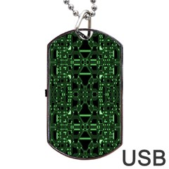 An Overly Large Geometric Representation Of A Circuit Board Dog Tag Usb Flash (two Sides) by Simbadda